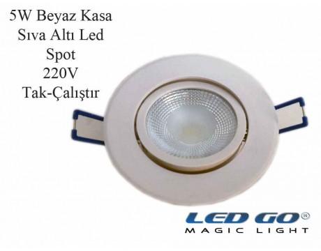 5W BEYAZ KASA LED DOWNLIGHT,220V,SIVA ALTI