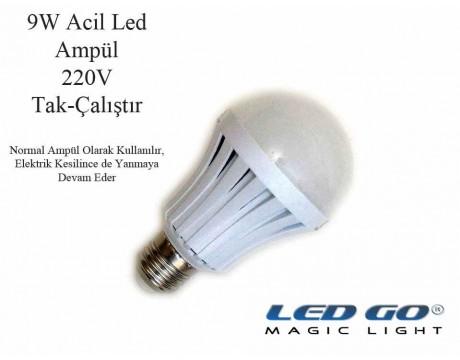ACİL ŞARJLI LED AMPUL 9W,220V,E27 DUYLU