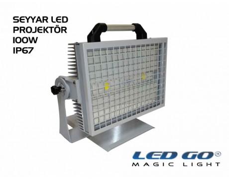 CPXS-X2-100-24, Seyyar COBLed Projektör,100W, 220V, IP67, Temperli Camlı
