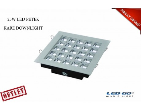 25W KARE PETEK LED DOWNLIGHT-SIVA ALTI-220V