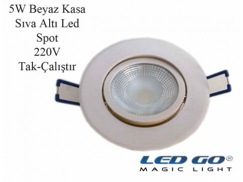 5W BEYAZ KASA LED DOWNLIGHT,220V,SIVA ALTI
