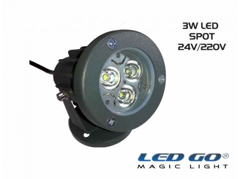 Led Go®Mini Led Spot 3w,24V DC, IP67